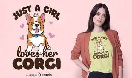 Diseño de camiseta de niña Corgi