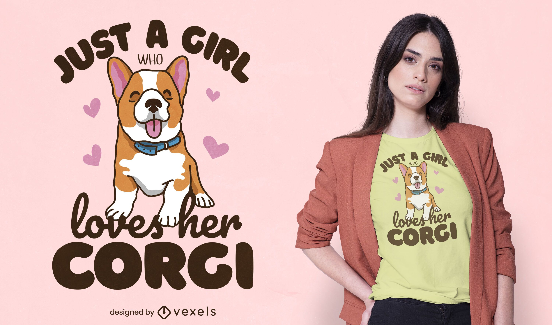 Corgi girl t-shirt design