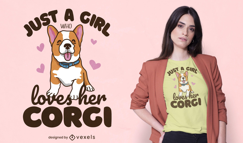 Corgi Mädchen T-Shirt Design