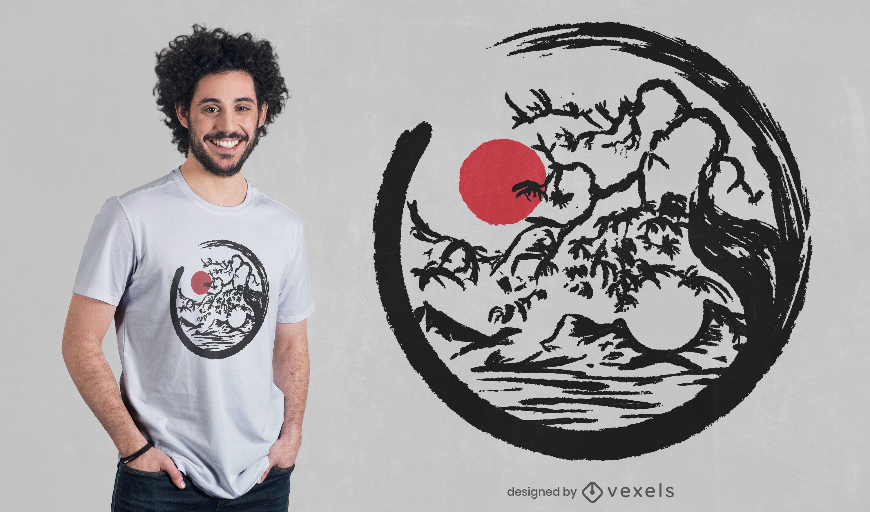 Diseño de camiseta de naturaleza yin yang.