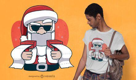 Santa with money guns t-shirt design