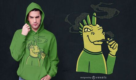 Diseño de camiseta de dinosaurio fumando porro