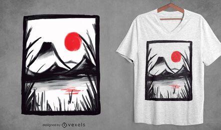 Diseño de camiseta de paisaje zen