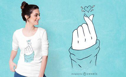 Koreanisches Herz Hand T-Shirt Design