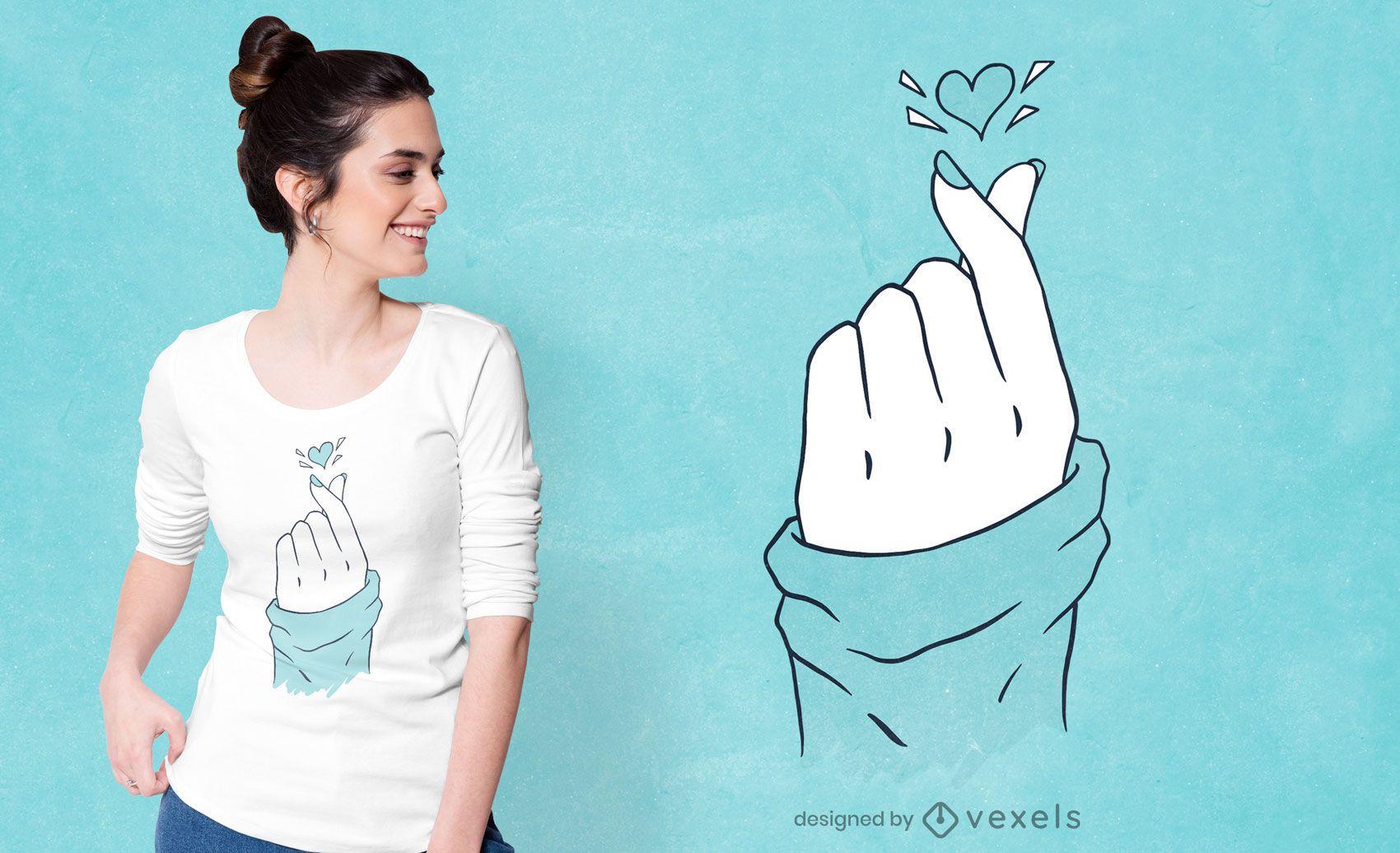 Korean heart hand t-shirt design