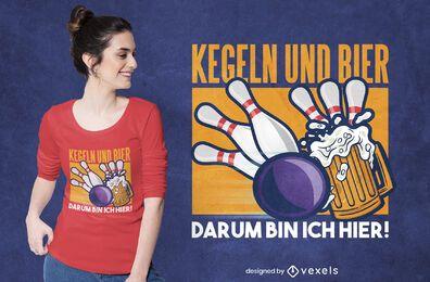 Diseño de camiseta alemana de bolos y cerveza.