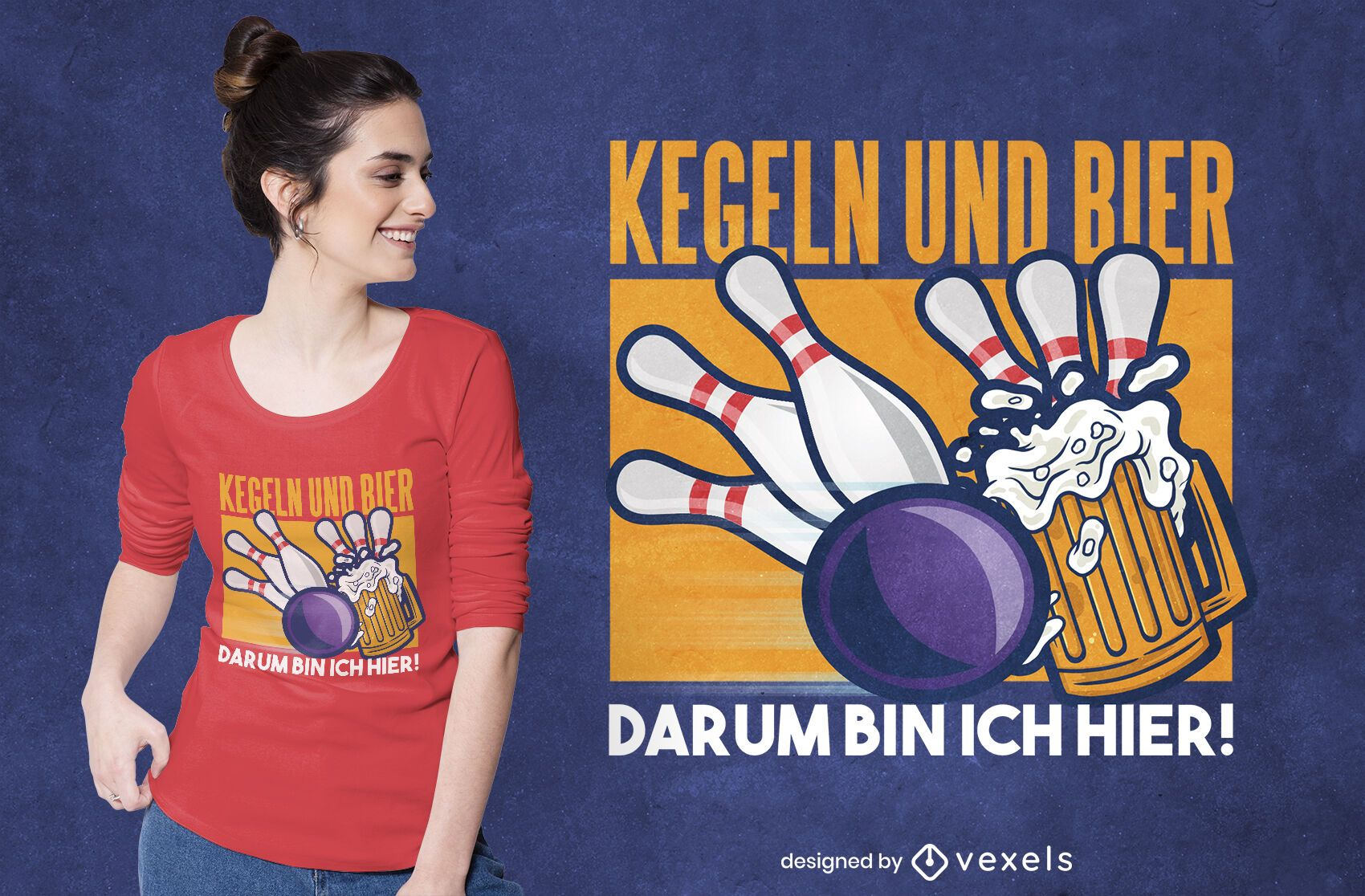 Bowling and beer german t-shirt design
