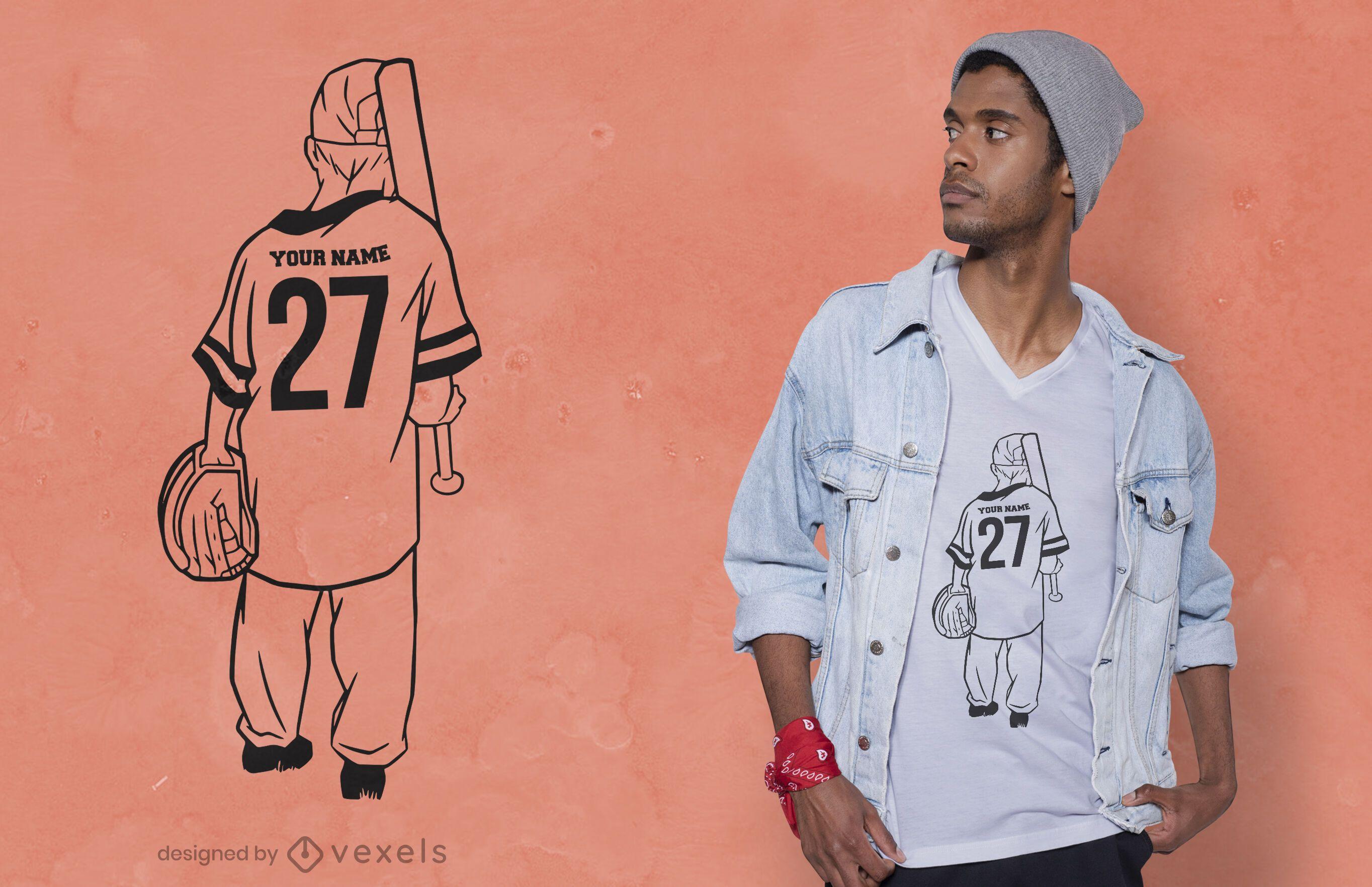 Design de camiseta para jovem jogador de beisebol