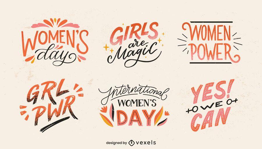 Conjunto de letras del día internacional de la mujer