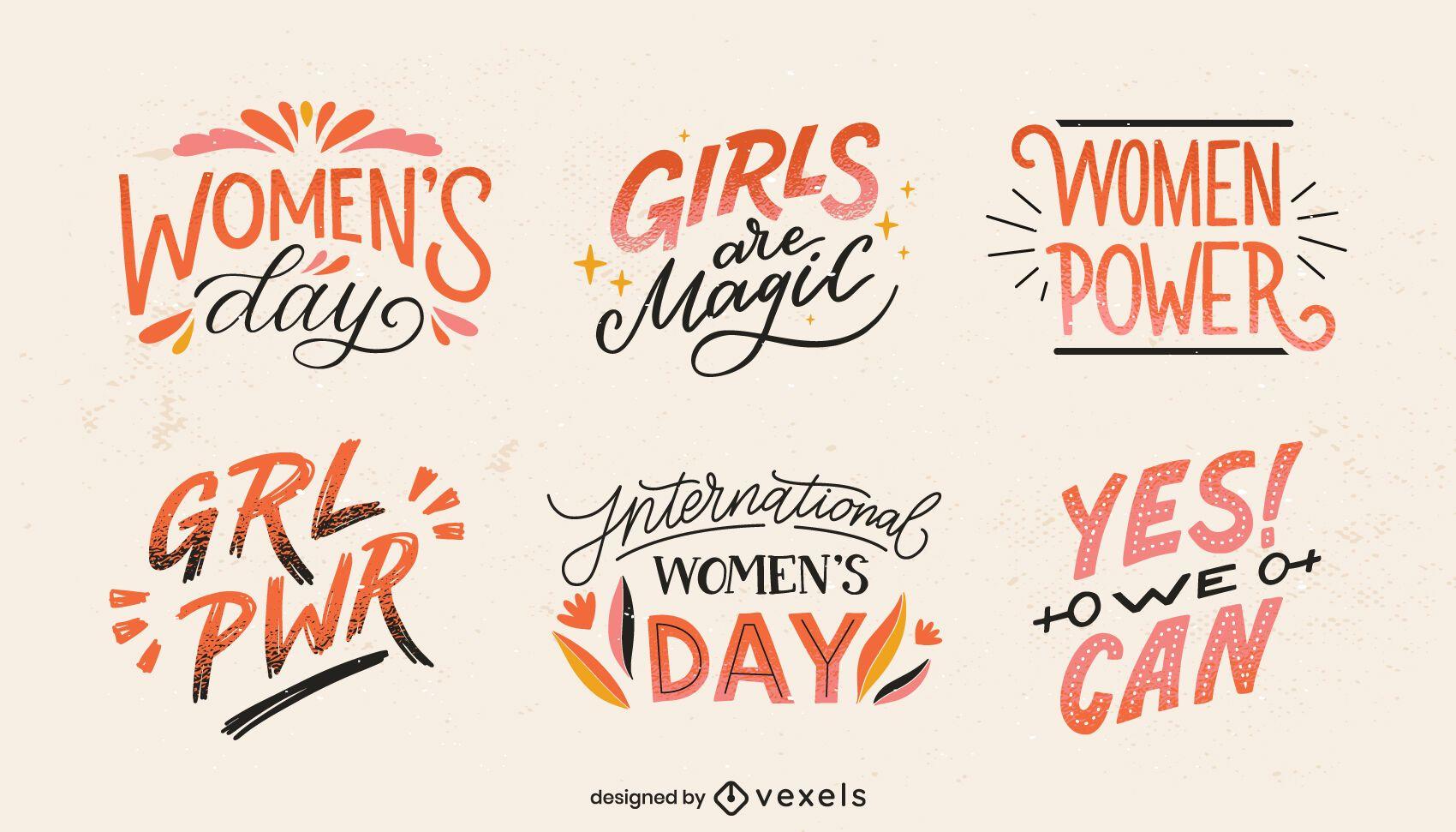 Conjunto de letras do Dia Internacional da Mulher