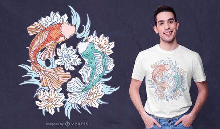 Diseño de camiseta de loto de pez koi