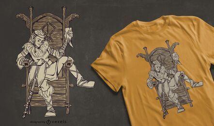 Diseño de camiseta de mujer vikinga.