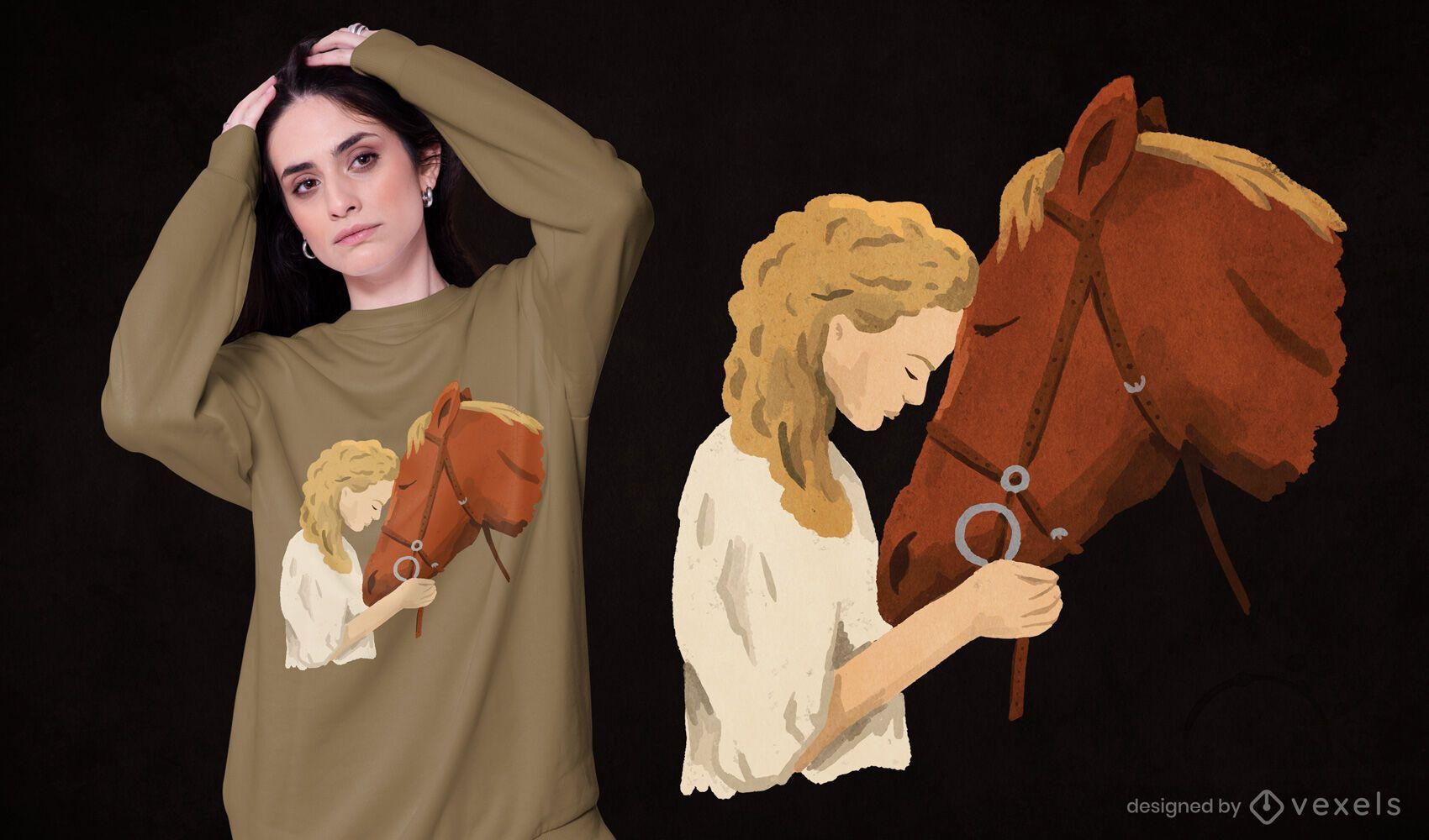 Diseño de camiseta de niña y caballo.