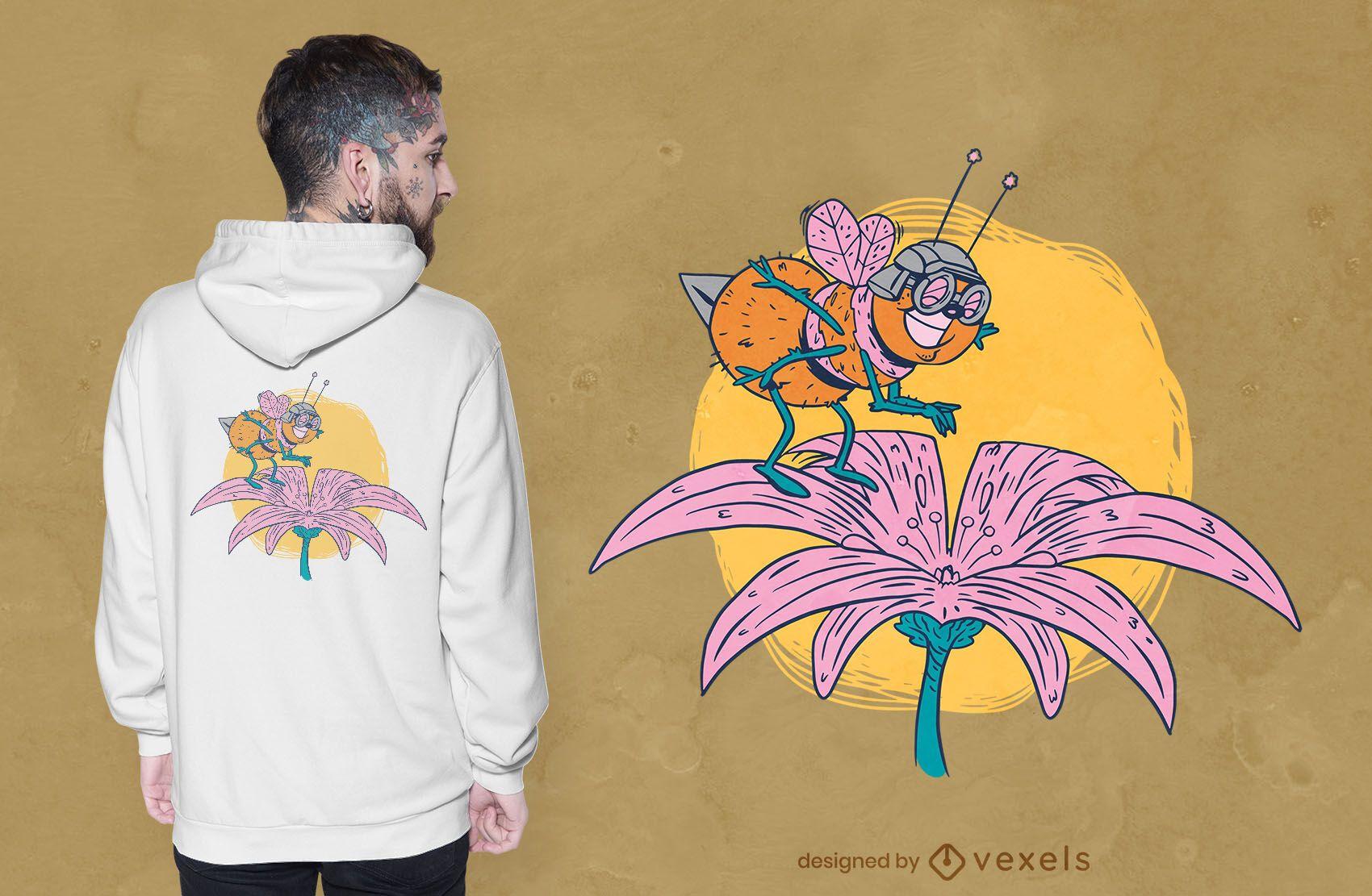 Design engraçado de t-shirt com flores de abelha