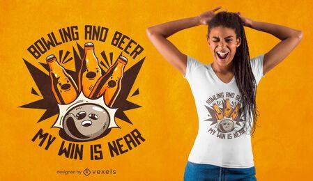 Diseño de camiseta de bolos y cerveza.