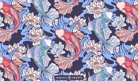 Desenho de padrão de lótus de peixes Koi