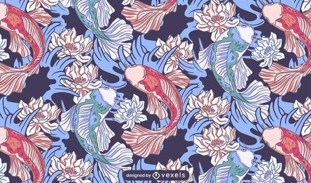 Diseño de patrón de loto de pez koi