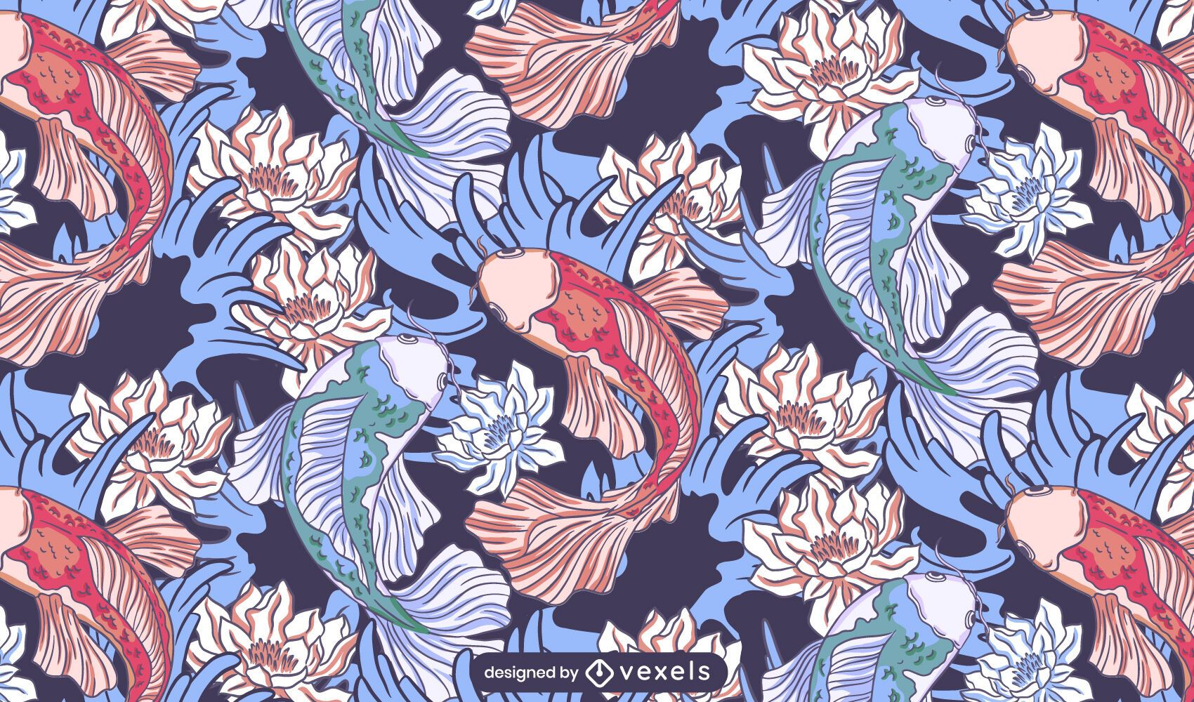 Koi Fisch Lotus Muster Design