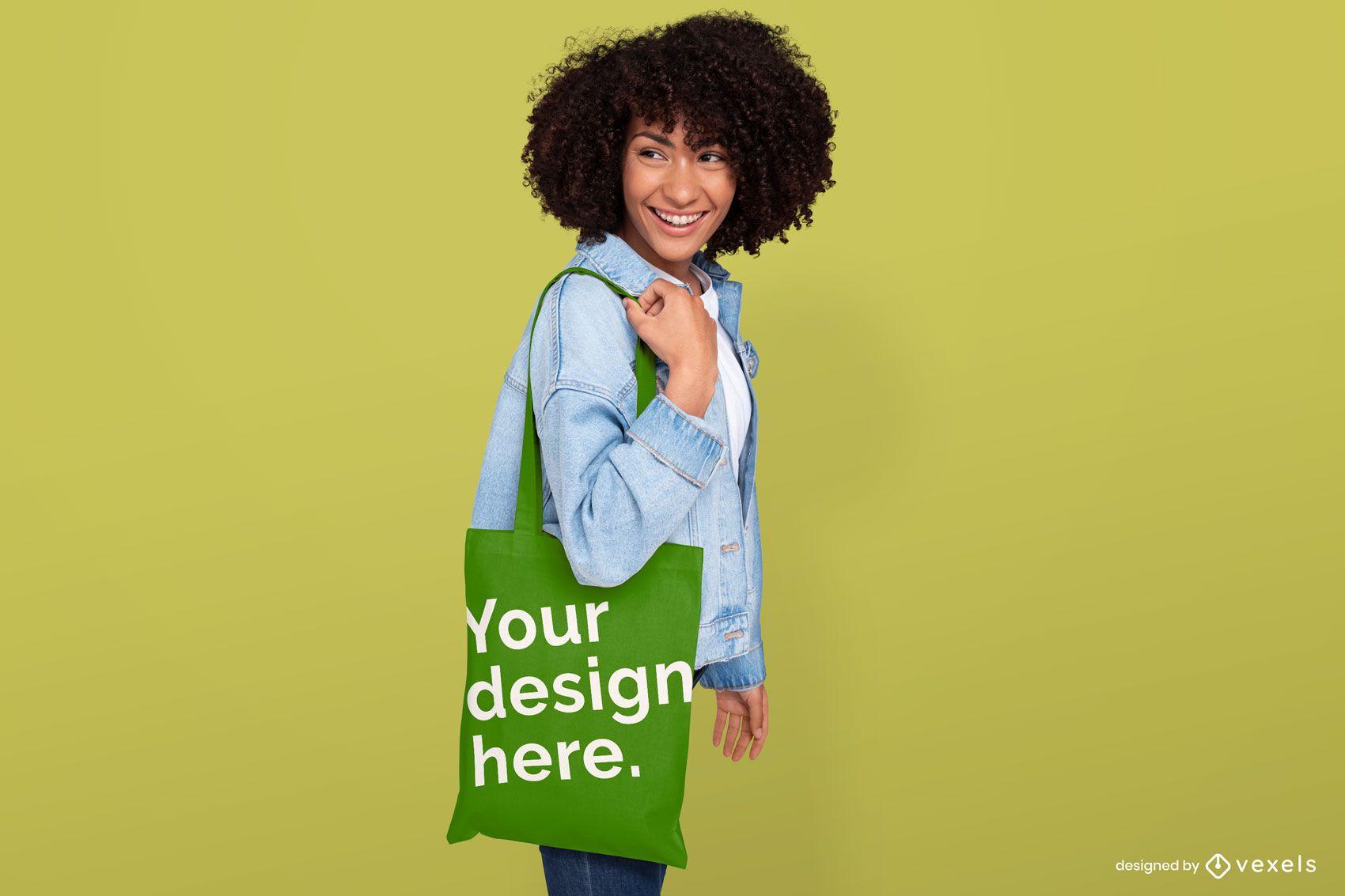 Girl holding tote bag mockup