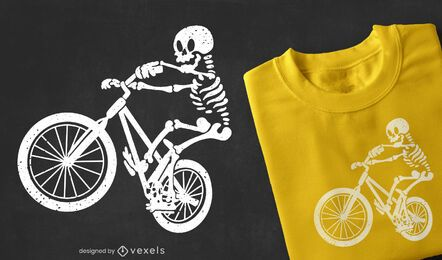 Diseño de camiseta de motorista esqueleto