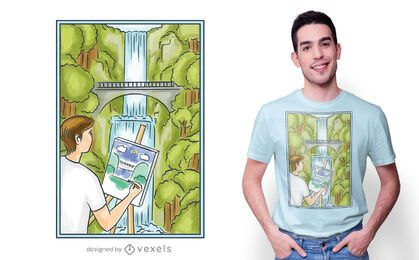 Funny painting man t-shirt design
