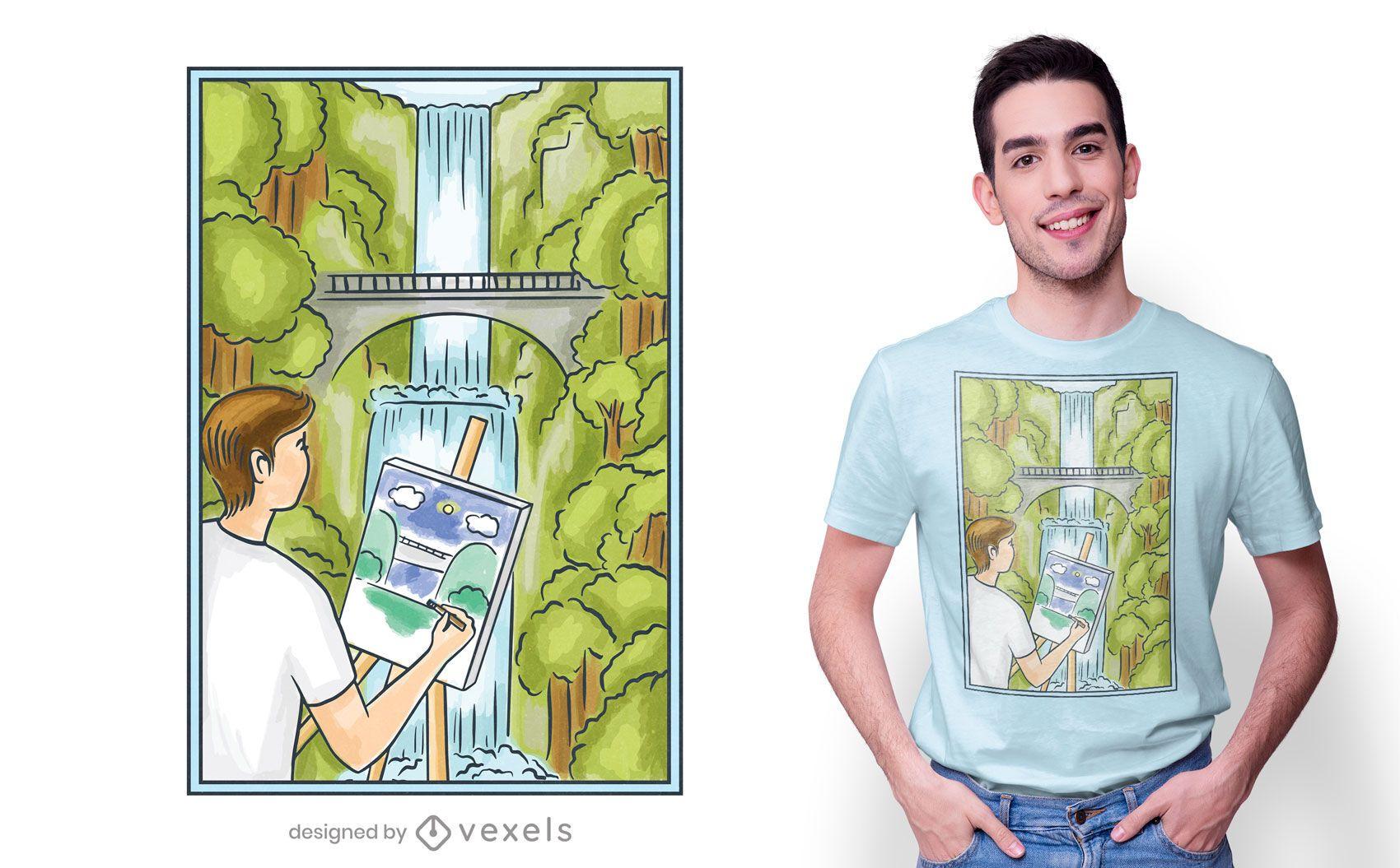 Funny painting man t-shirt design