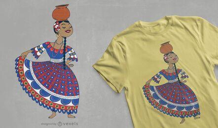 Diseño de camiseta de bailarina paraguaya.