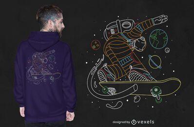 Diseño de camiseta skater astronaut.