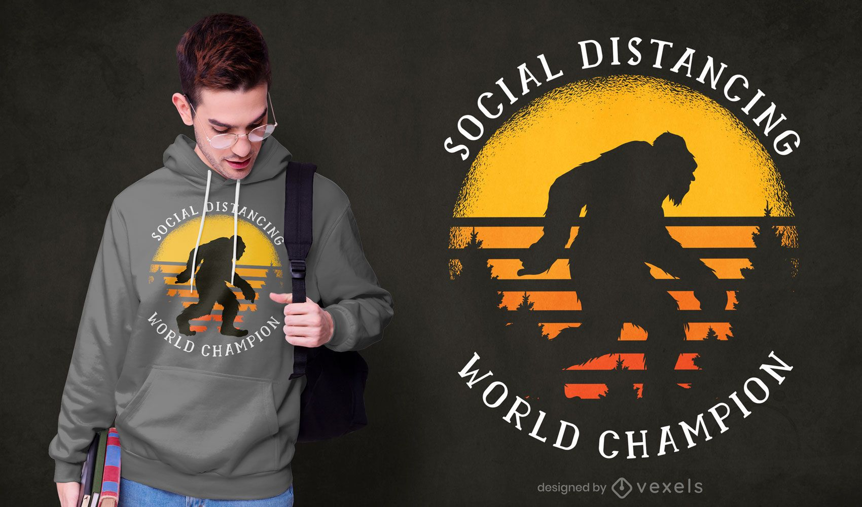 Design de t-shirt com pés grandes de distanciamento social