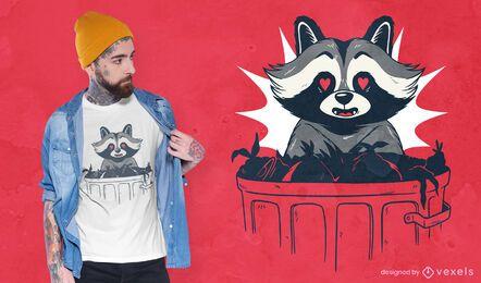 Mapache ama el diseño de camiseta de basura