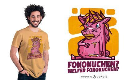 Design de t-shirt de unicórnio com bolo de chocolate