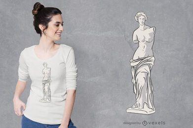 Diseño de camiseta de estatua de Venus