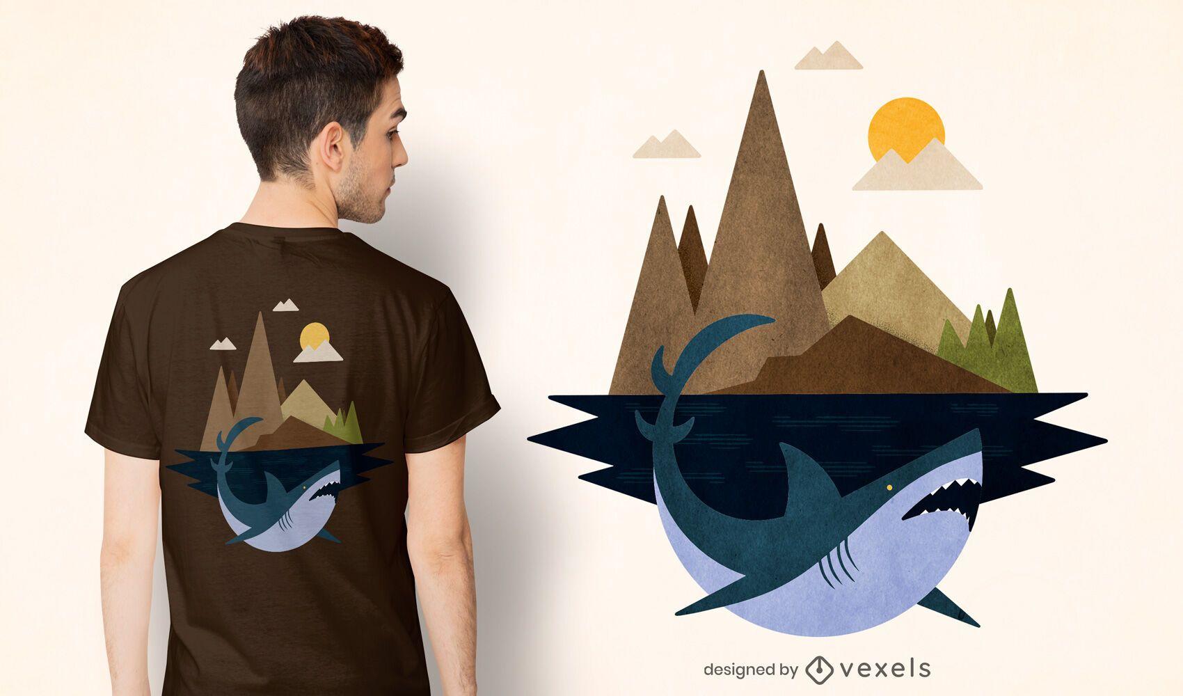 Shark island t-shirt design