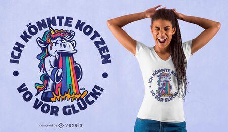 Diseño de camiseta de unicornio vomitando