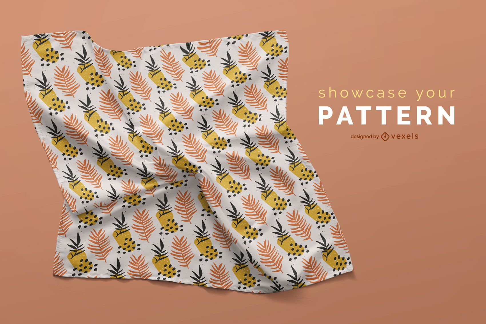Wrinkled handkerchief mockup design