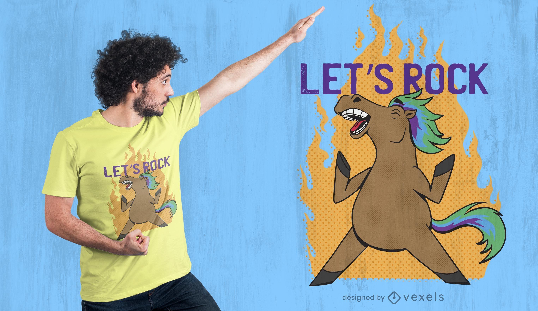 Horse let's rock t-shirt design