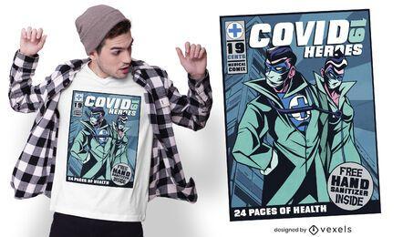 Diseño de camiseta de cómic de Covid 19