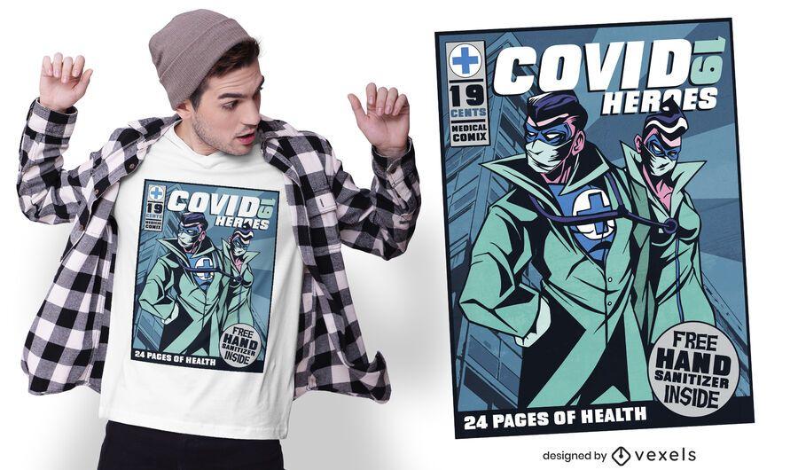 Covid 19 comic t-shirt design