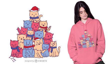 Design de camisetas da árvore de natal dos gatos
