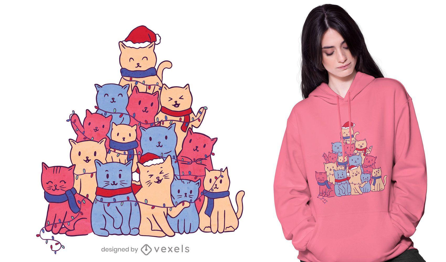 Diseño de camiseta de árbol de navidad de gatos