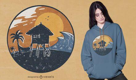 Design de t-shirt para cabana de praia e pôr do sol