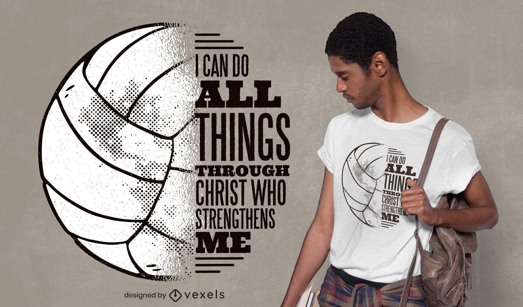 Design de camiseta de voleibol de citação de Cristo