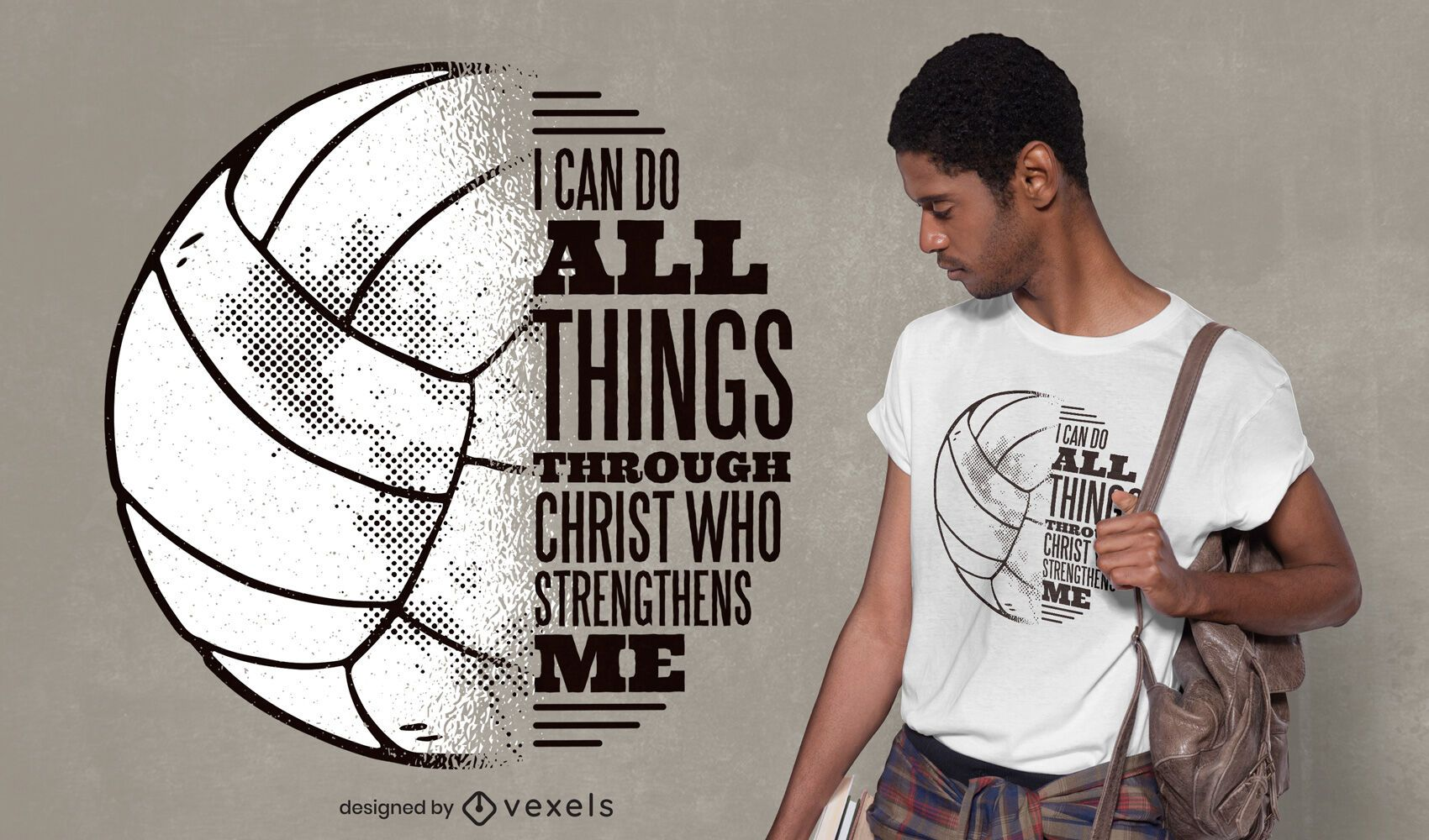 Volleyball christ quote t-shirt design