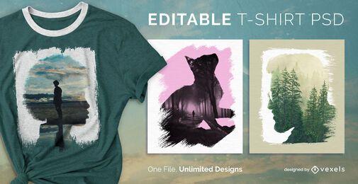 Skalierbares T-Shirt mit Pinselstrich psd