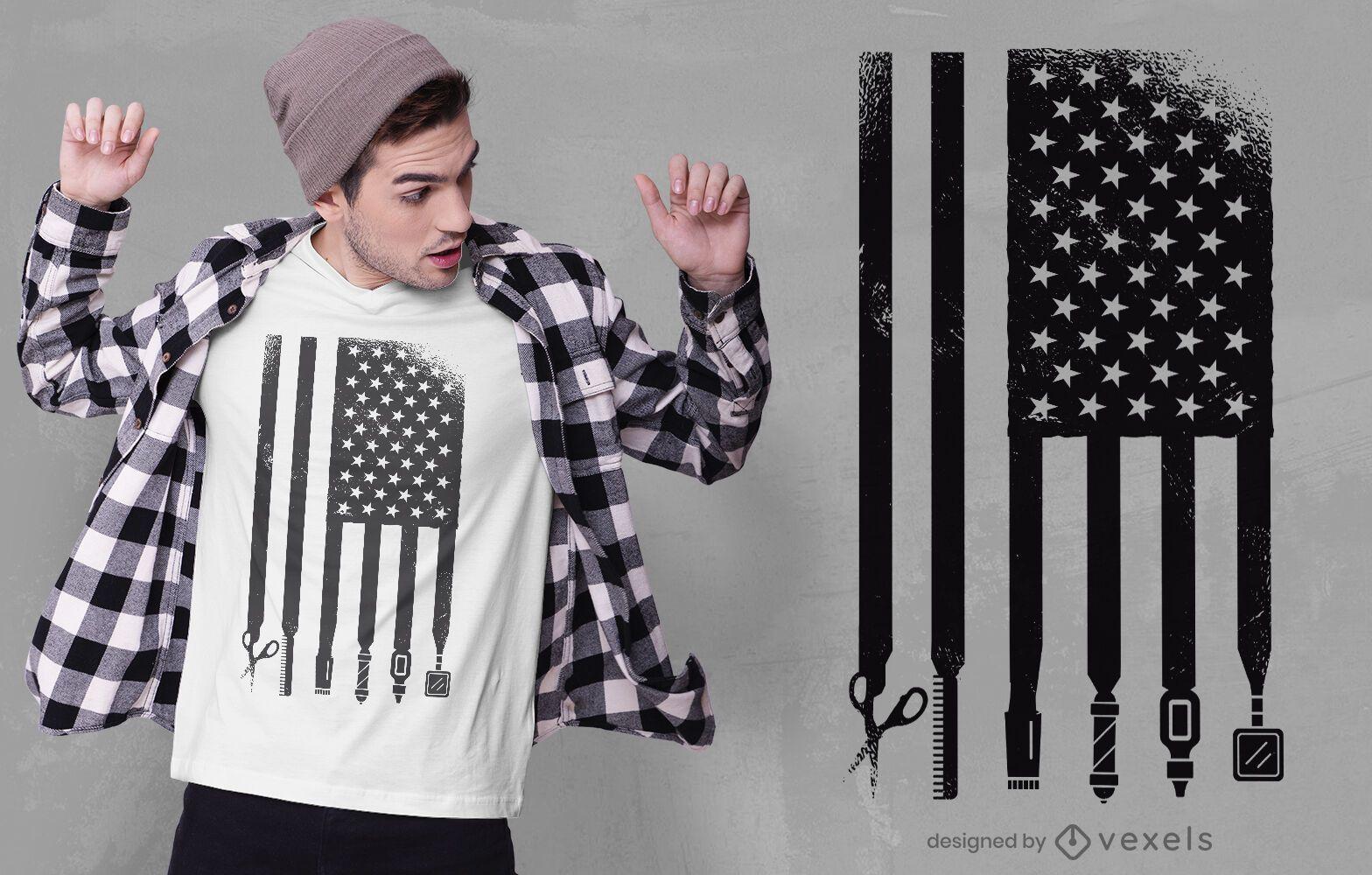 Diseño de camiseta barber usa flag