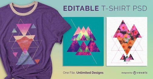T-shirt escalável triângulo abstrato psd