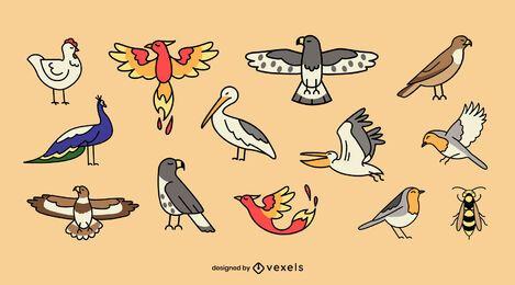 Conjunto plano de pájaros