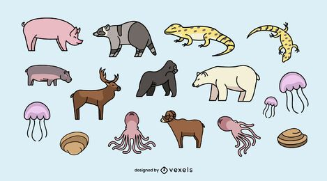 Conjunto de ilustração de vários animais