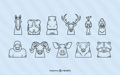 Conjunto de trazos de cabeza de animal