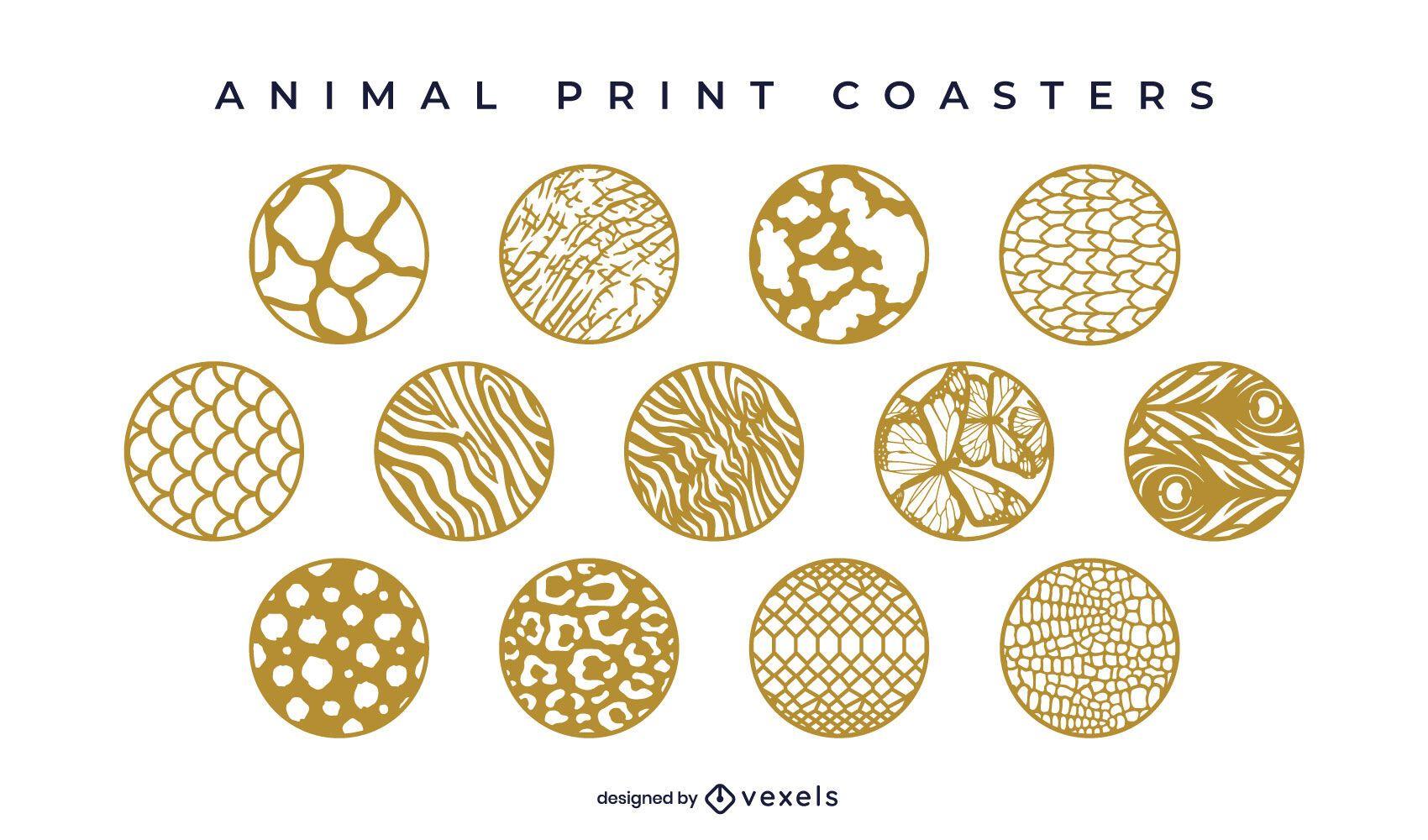 Animal print circular coaster set